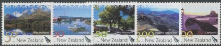 NZ SG2601,3,6-7,10 New Zealand Landscapes set of 5 with ferns in silver foil